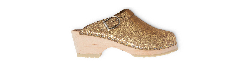 Hanna Swedish Sparkle Gold Clogs