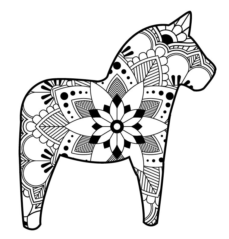 Dala Horse Coloring Page