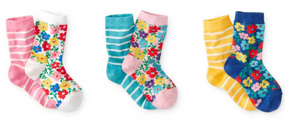 Kids striped and floral socks