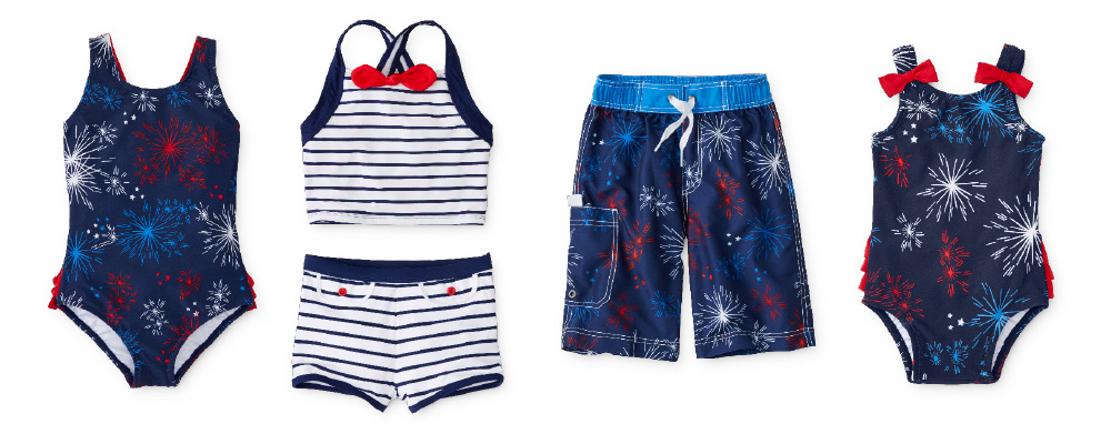 red, white and blue swimsuits for kids