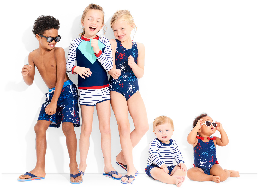 Red, white and blue kids summer swimsuits