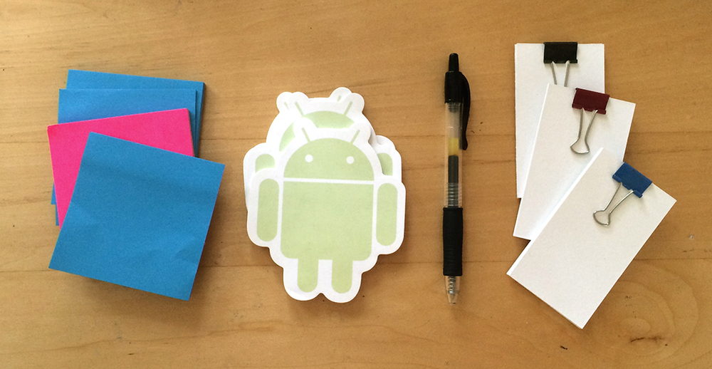 tools of the trade: post-its; android notepads; pilot G5; custom tiny notebooks