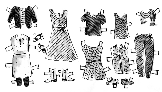 my wardrobe if I were a paper doll.