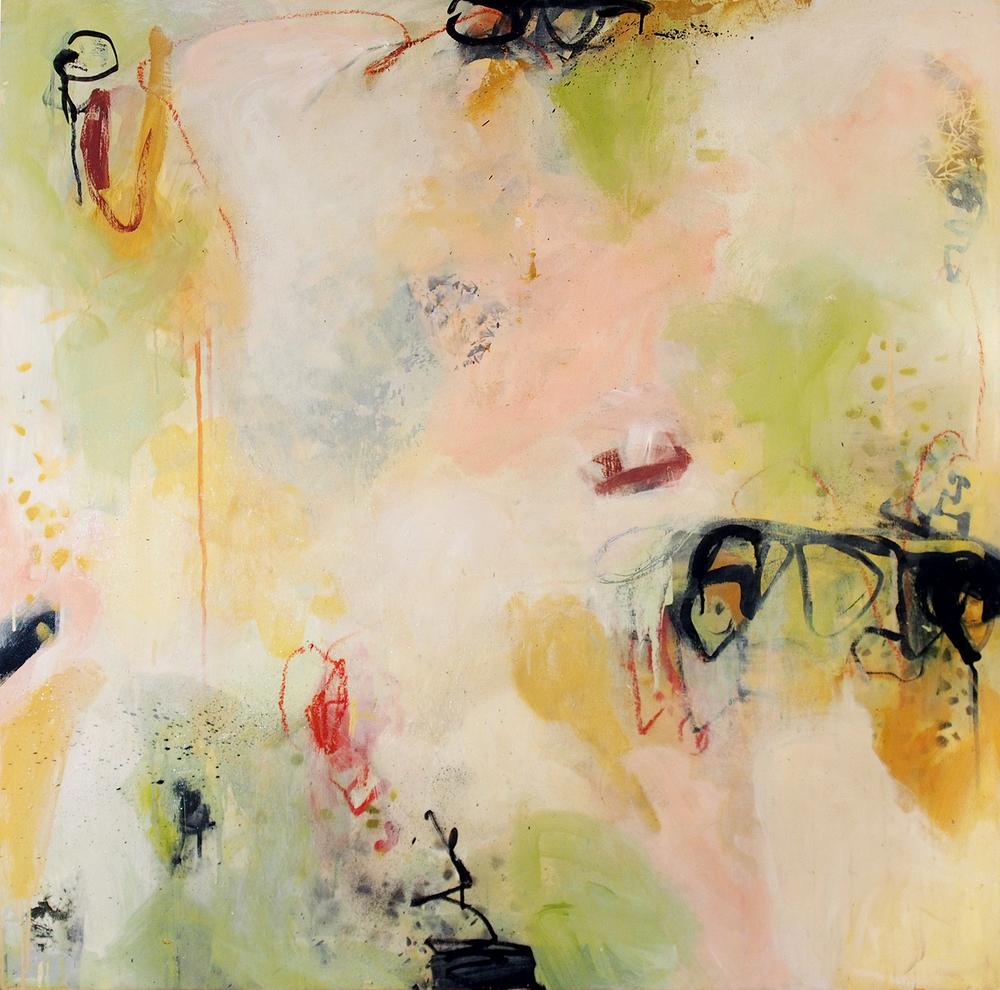 """Haze, smoke, veil Acrylic on wood panel 14LWP101 36"""" x 36"""" x 1 1/2"""""""