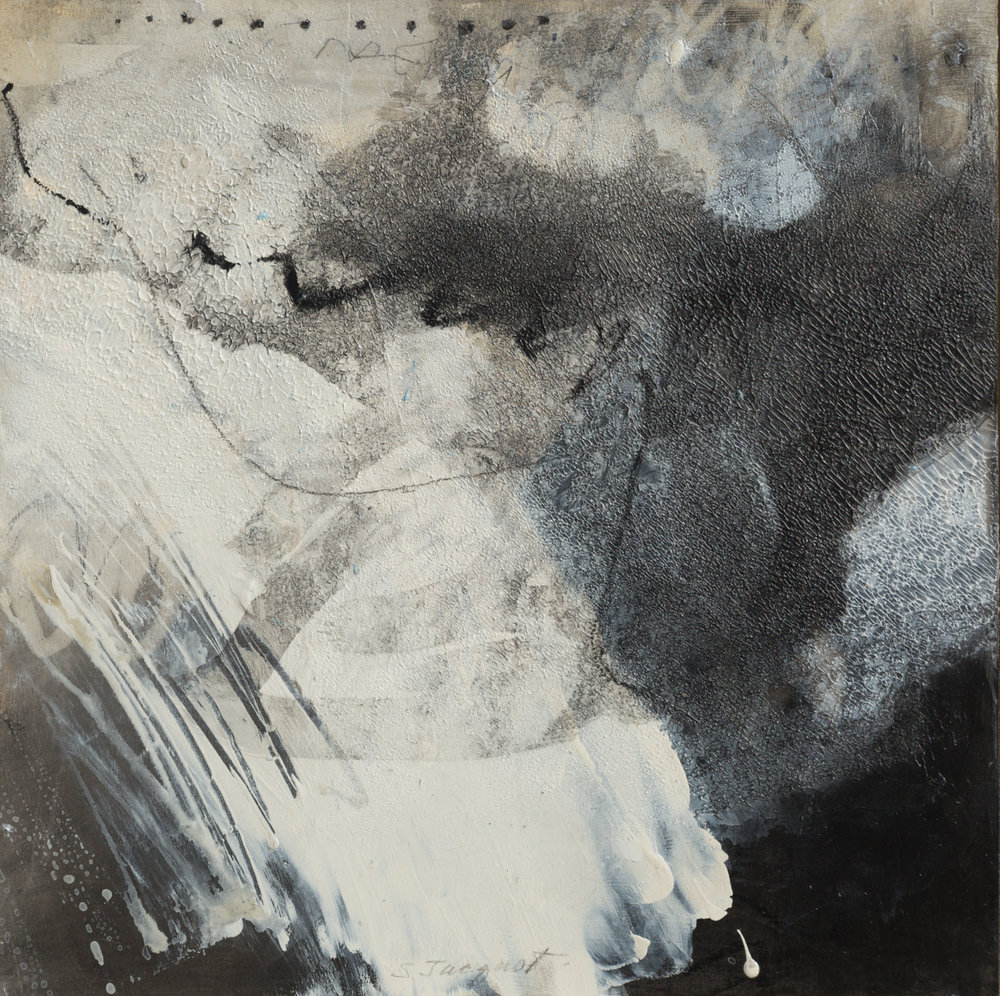 "Haiku Series Acrylic, graphite, charcoal on wood panel 16SWP108 12"" x 12"""