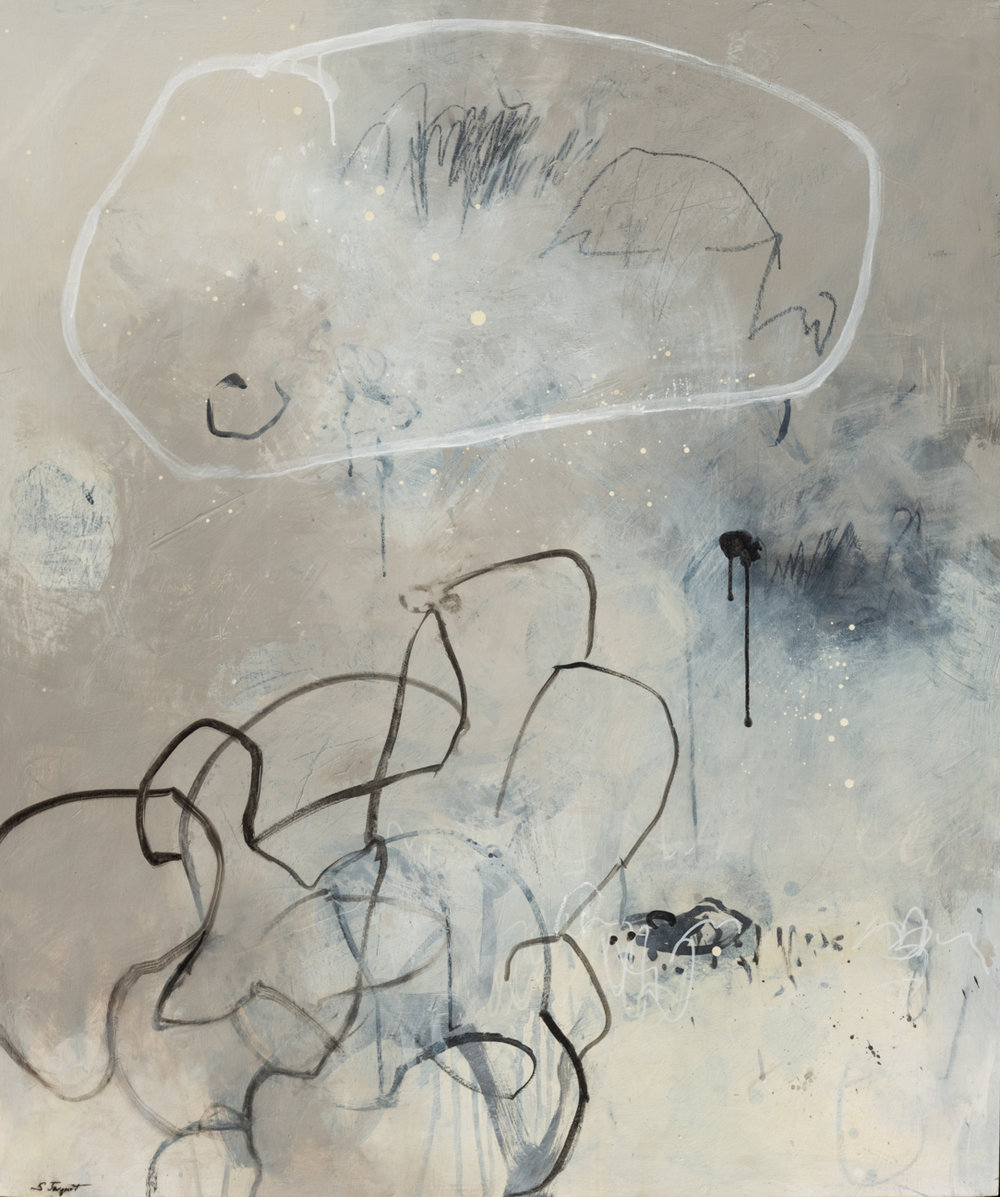 "Conversation Acrylic, graphite, charcoal on wood panel 17LWP102 40"" x 48"""