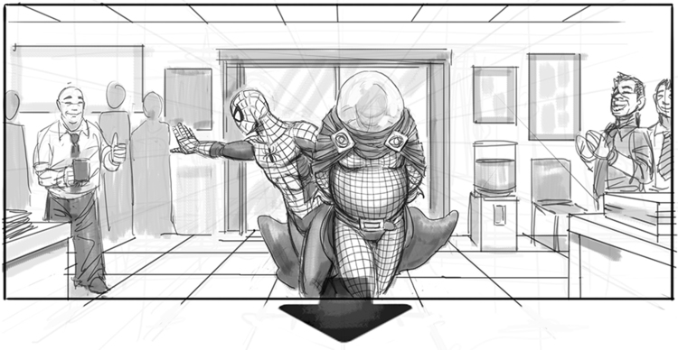 Spider-Man bringing Mysterio into a police station