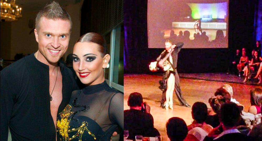 Mikko parinsa Nina Solovyevan kanssa World Salsa Summit kisoissa Miamissa 2013.