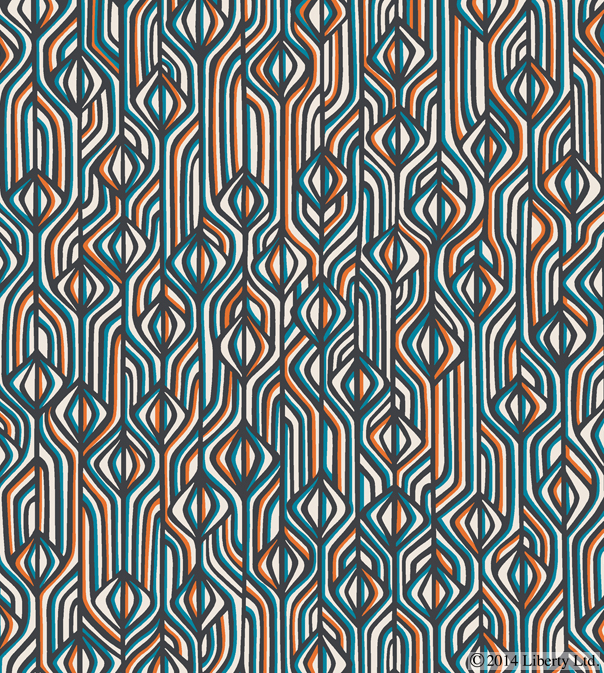 Liberty,  Torsten   Inspired by the unique structure of retro fabric and the optical shapes found within them, the  Torsten  fabric design pays homage to Liberty's eclectic Men's Designer Collections Department