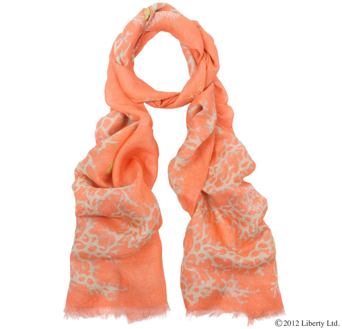 Liberty  Coral  Print Linen Scarf