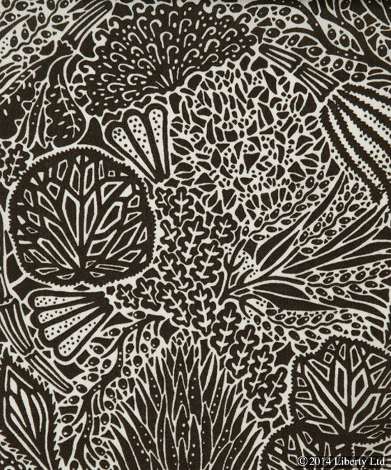 Liberty,  Heidi-Maria  on Tana Lawn Cotton  A puzzle-like pattern - inspired by the beautiful and intriguing shapes of botanical plants.  Embracing the British Modern Print era, it represents screen and lino prints found in Liberty's Art and Design Print Room on the fourth floor