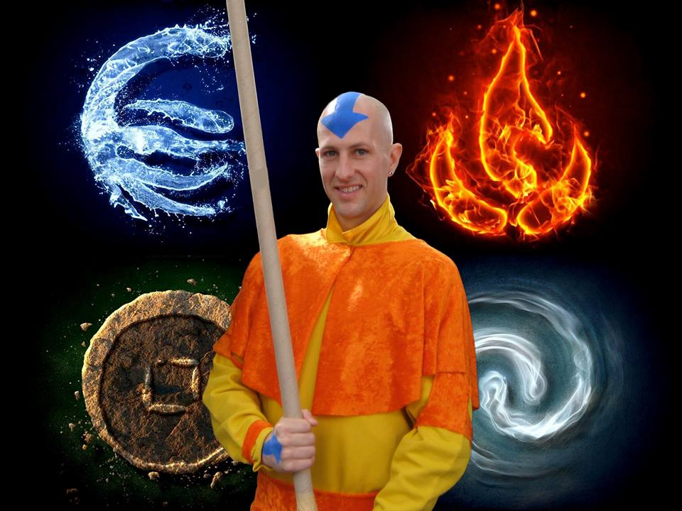 CJ dressed as his favorite Nick cartoon character Aang from Avatar The Last Airbender