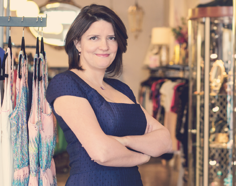 Boutique owner Maya Krauss striking a pose in her South Congress shop. Photo credit: Deano Jones.