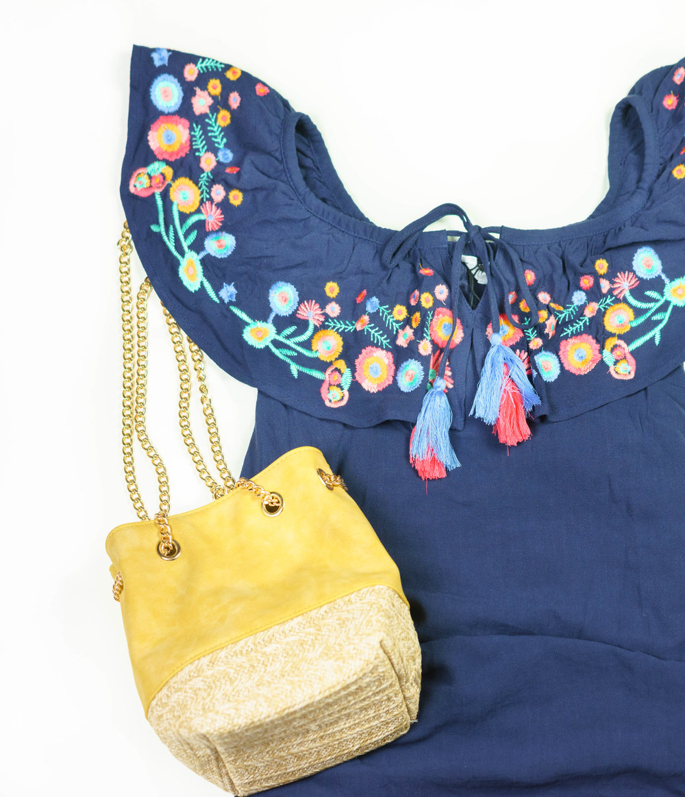 Featured: Embroidered Blue Summer Dress, $88. Yellow Mini Bucket Bag, $55.