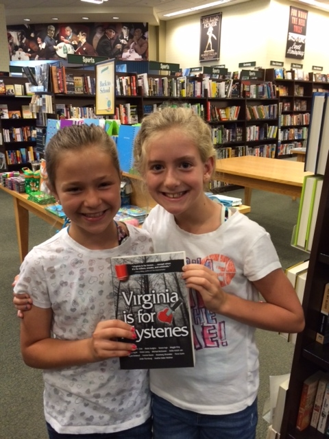 J and E found VIRGINIA IS FOR MYSTERIES at the Barnes and Noble in New Town (Williamsburg, VA).