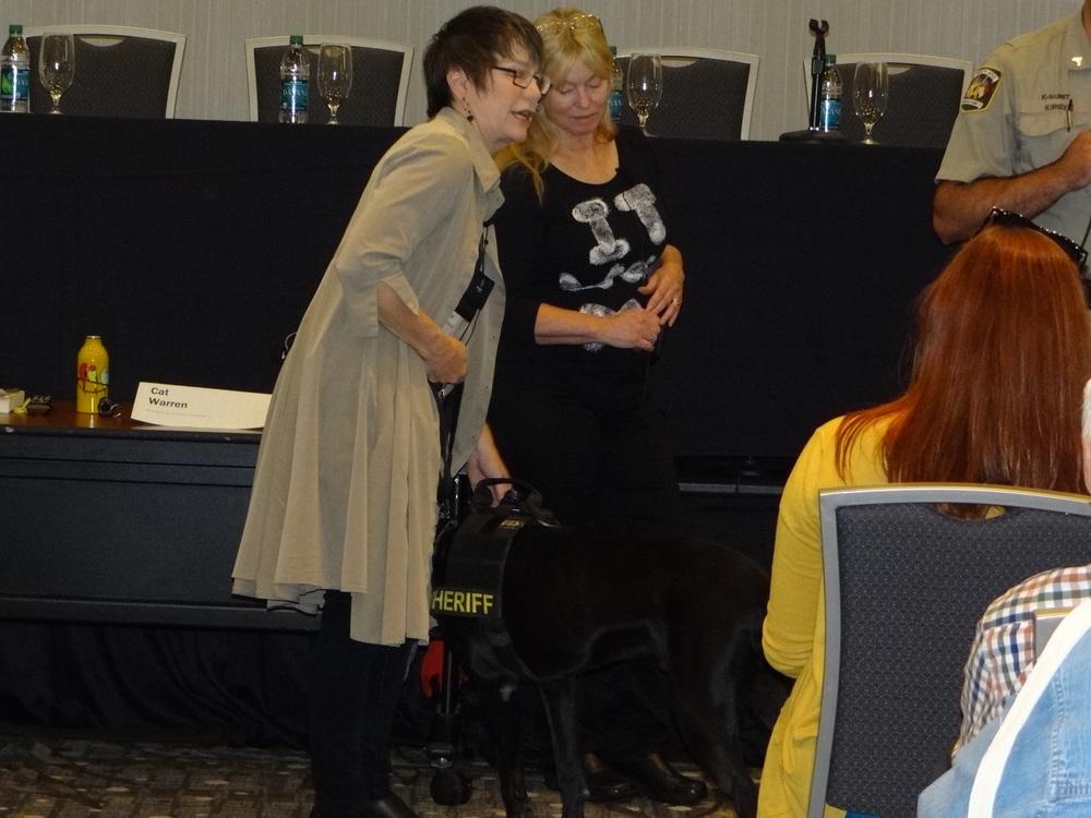 l-r: Cat Warren, Kate Flora, and Dreyfus