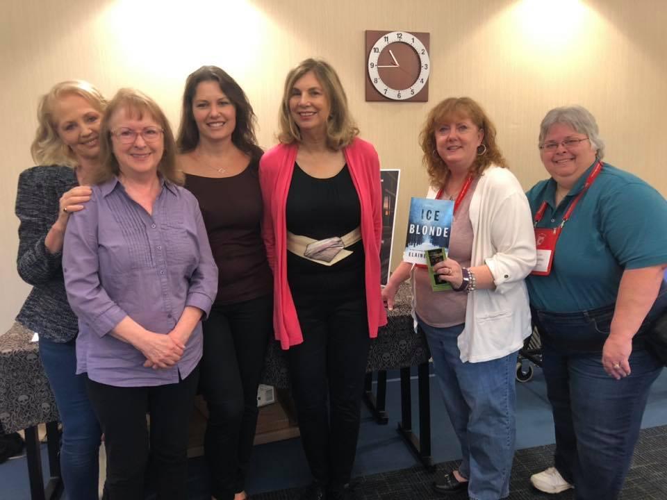 l-r: Mary Burton, Maggie King, Kristin Kisska, Elaine Viets, Me, J. A. Chalkley