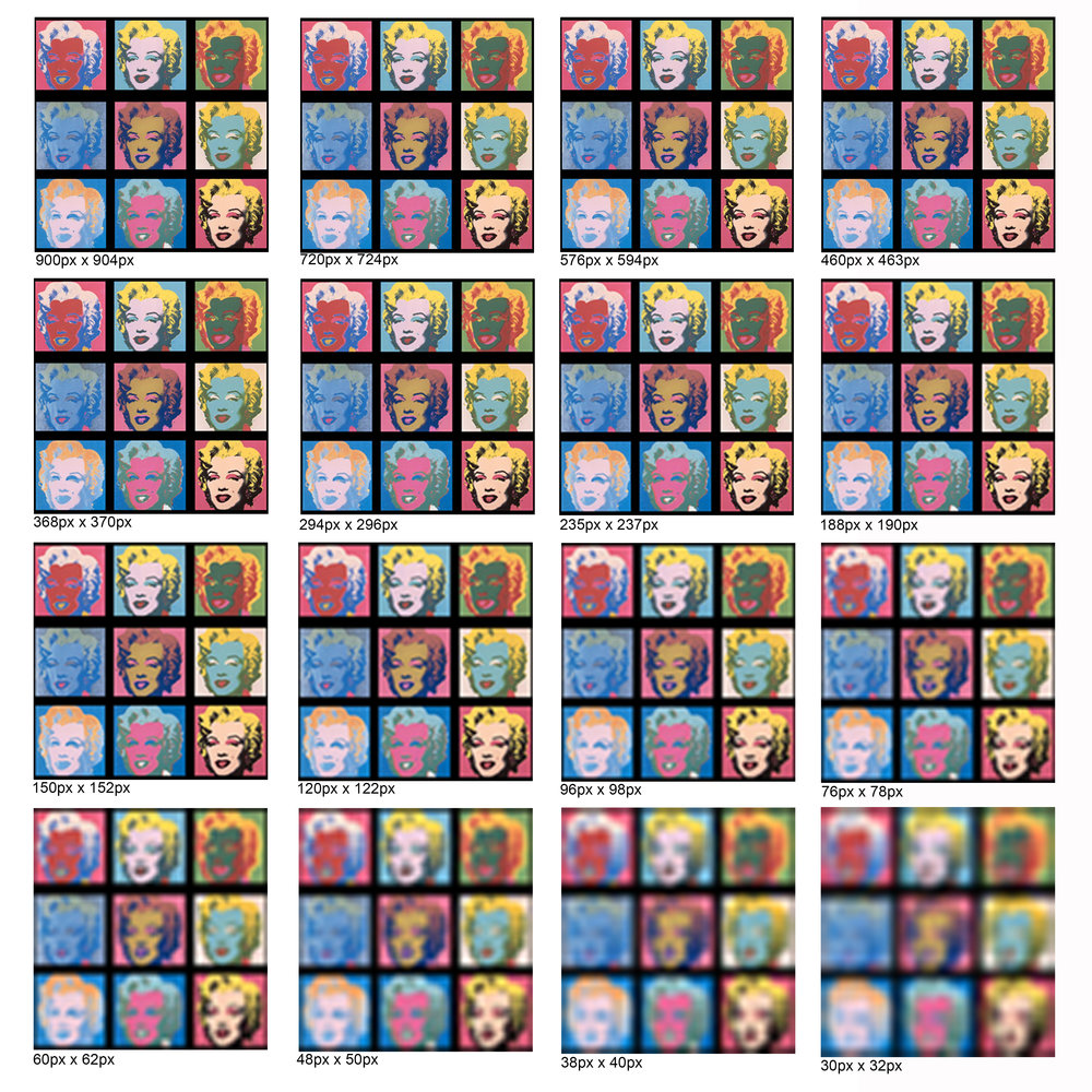 Warhol's Marilyn piece is very different from Prince's case, in my opinion. The image Warhol used was a widely used image of the actress and the silkscreening process of creating the piece became its main characteristic. I found this grid online and subtracted 20% of the peels for every new copy. Slowly, the piece looses its clarity (value), at what point we stop the appropriation?