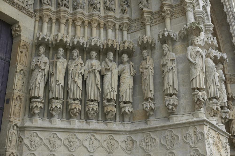 Jamb Figures: Apostles Peter, Andrew, James the Greater, John, Judas (or Simon), Bartholomew