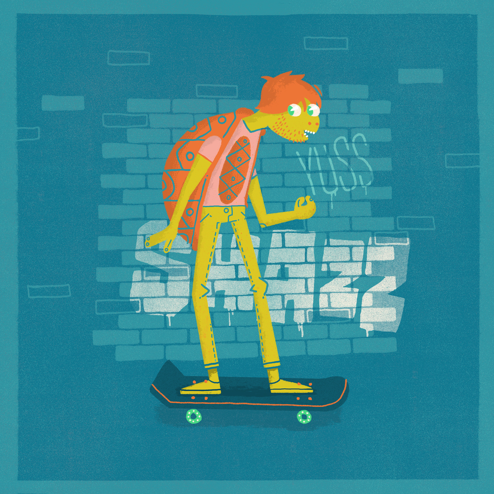 "I once imagined my buddy Aran ""Shazz"" Quinn as a teenage mutant ninja turtle on his day off skating through the city."