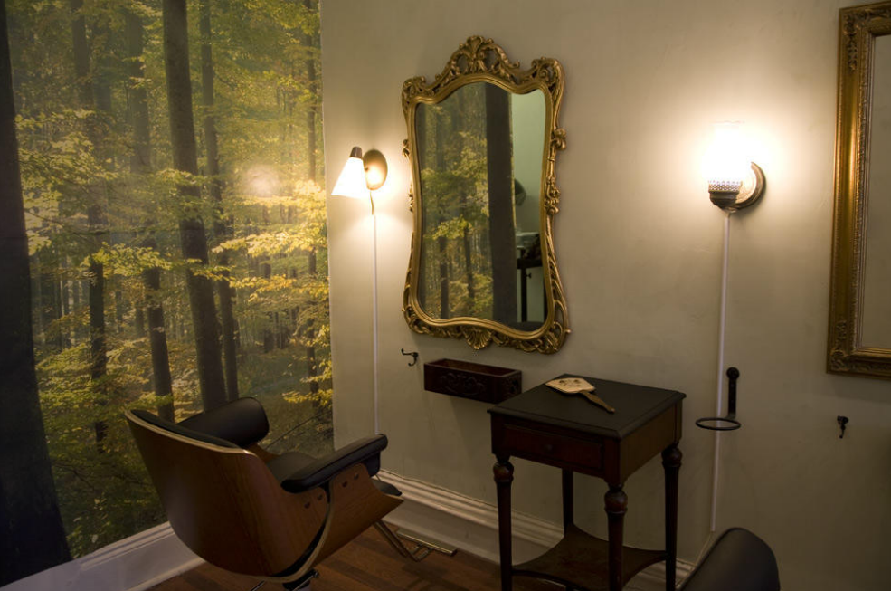 Get your haircut deep in a forest, amongst terrariums and a flora backdrop while sitting in Eames chairs illuminated by vintage lanterns. RRR now at FOXY SALON! Don't forget to scent that newly styled beard with our BEARD OIl. Come out smelling like you have rolled amongst the Pines without having left Brooklyn.  http://www.foxysalonnyc.com