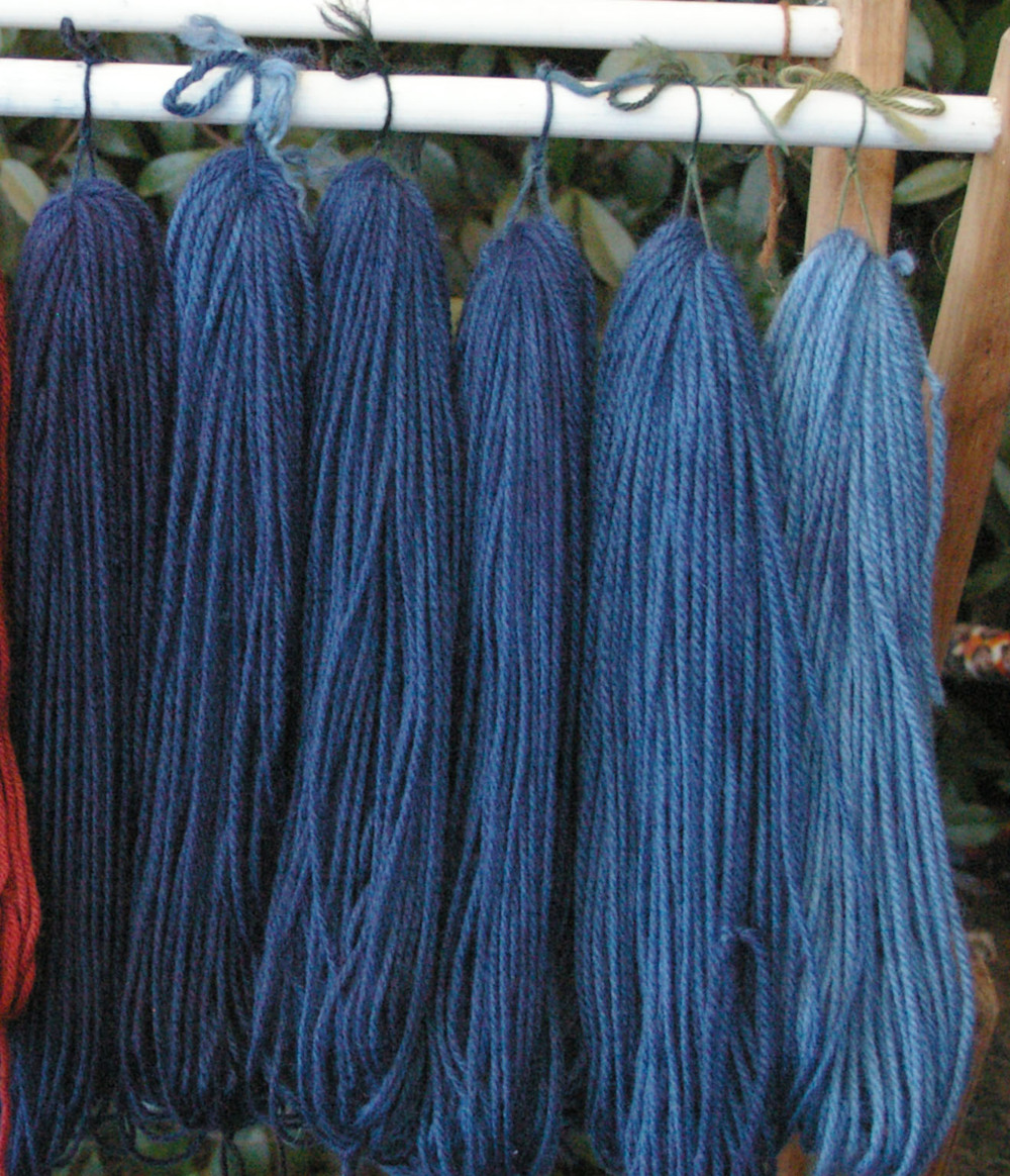 Indigo dyed yarns.
