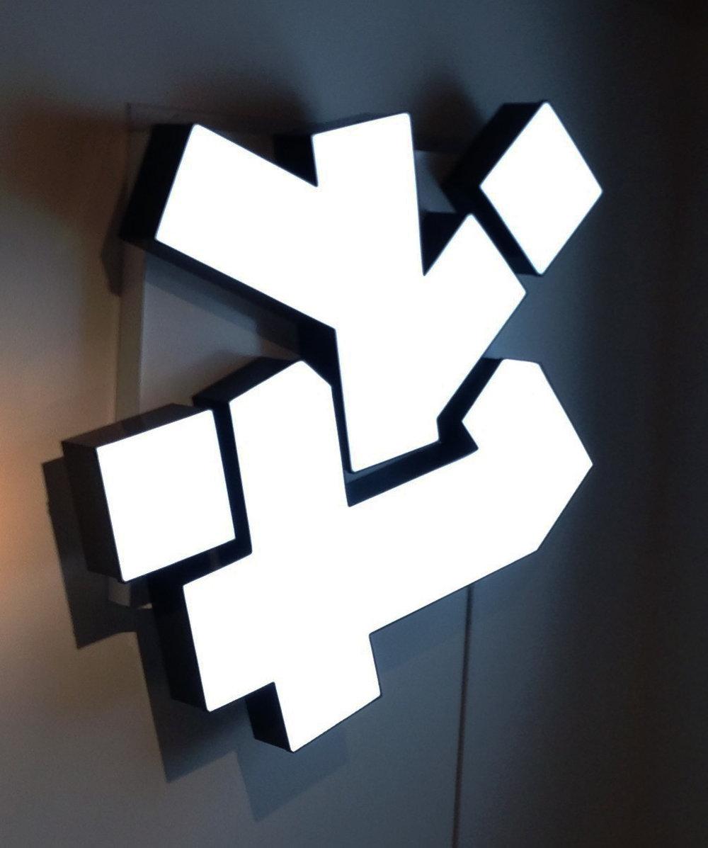 "Self titled, 2017, LED, acrylic, aluminum, power transformer 48x60x8"""
