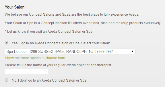 As you checkout your online orders, please select our location as your preferred local AVEDA Concept Salon/Spa. Thank you for your continued support and loyalty to our location!