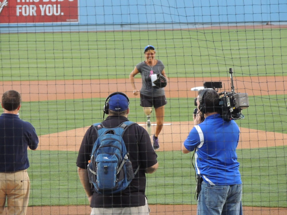 Coming Off the Mound at Dodgers Stadium when being honored to toss the Ceremonial First Pitch on May 1, 2015.