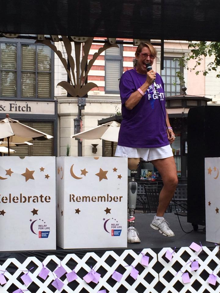 Adrienne Slaughter is the energetic Keynote Speaker at the First Specialty Relay For Life at The Grove/ Miracle Mile on July 22, 2014.