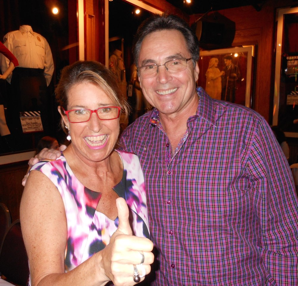 Keynote Speaker Adrienne Slaughter with Emcee David Plakos before her inspiring message onstage at sold-out Cancer Support Commuinity's Girls Night Out at Comedy & Magic Club on 10/6/16.