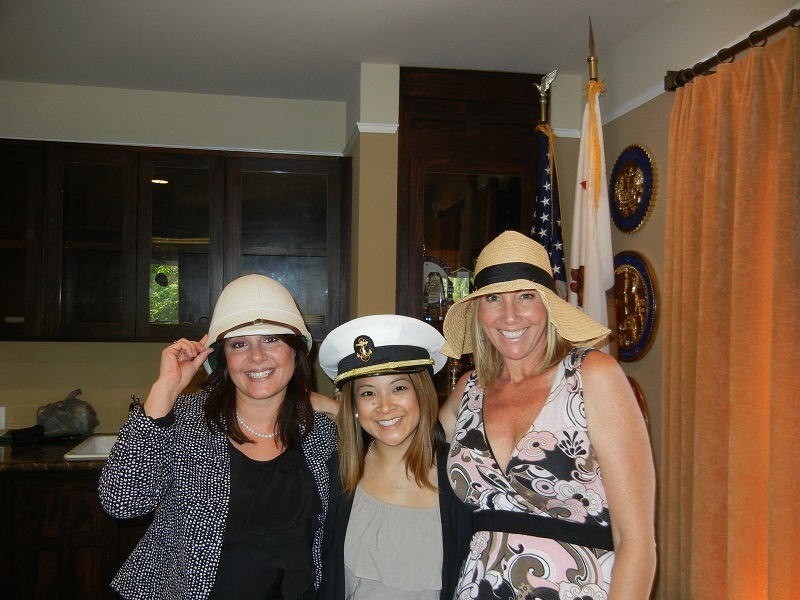 "Eleni Christianson (Kana Pipeline), Margaret Lukman (BIA Riverside, Member Services Manager) and AnnMarie Quinn (Geotek) wear their crazy hats for the ""BIA Derby""!"