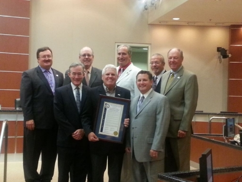 Riverside County Board of Supervisors ( l-r) Kevin Jefferies, First District; John Benoit, Fourth District; Jeff Stone, Chairman, Third District; John Tavaglione, Second District; and Marion Ashley, Fifth District; recently presented a special proclamation to the Southern California Building Industry Association (BIA) Riverside County Chapter and HomeAid Inland Empire (HAIE), its non-profit charity organization, in recognition of their work to develop shelter facilities to serve the area's homeless population. Accepting the proclamation were (l-r) HomeAid Inland Empire Board President Richard Hedrick; HAIE Executive Director Ray Osborne; and Riverside County BIA Chapter CEO Bill Blankenship.