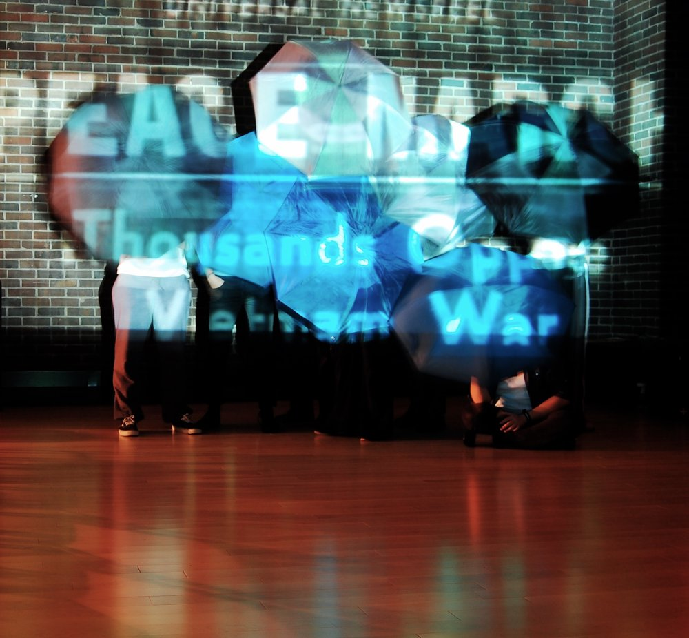 WRITTEN IN MY DREAM   Part of a late-night, experimental theatre series, this production used a live feed video projection and demonstration tactics to explore the nature of protest in the United States.