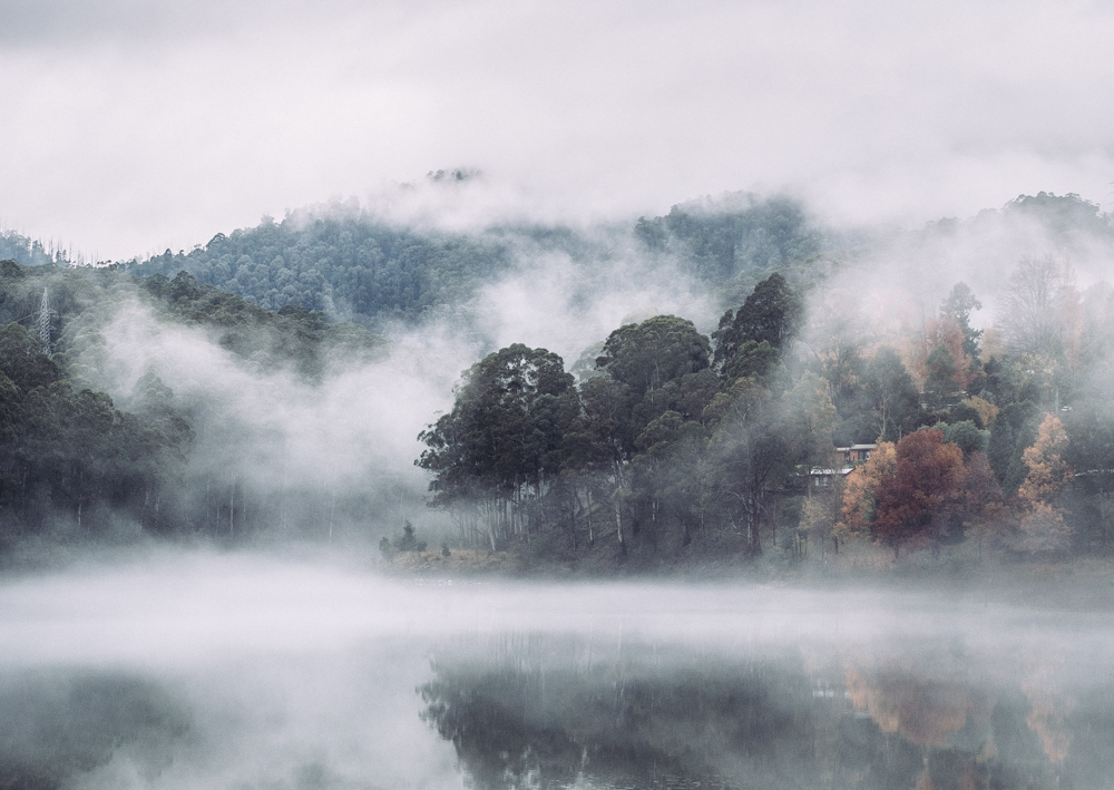 Bogong village lake misty autumn
