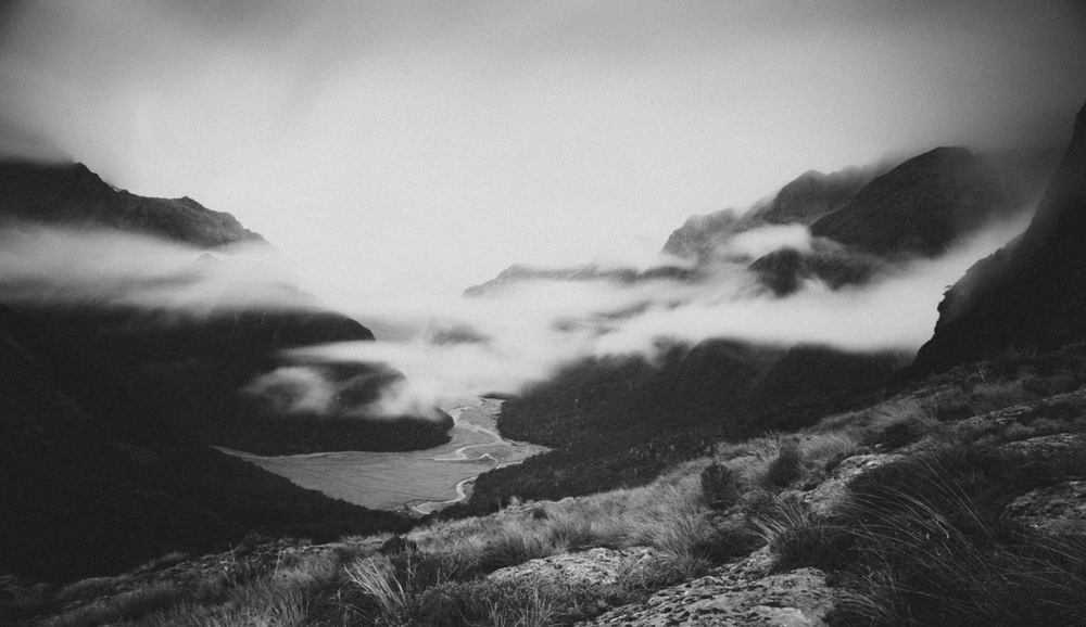 Misty mountain valley Routeburn Track black and white