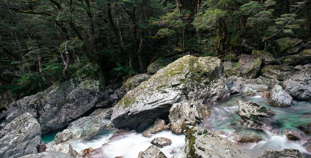 landscape photography flowing river Routeburn