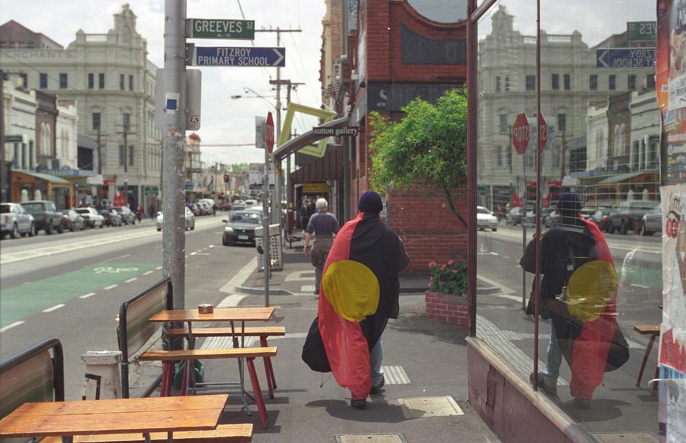 Aboriginal flag indigenous street Fitzroy Victoria Australia