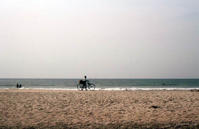 goa south india bicycle beach ocean sea