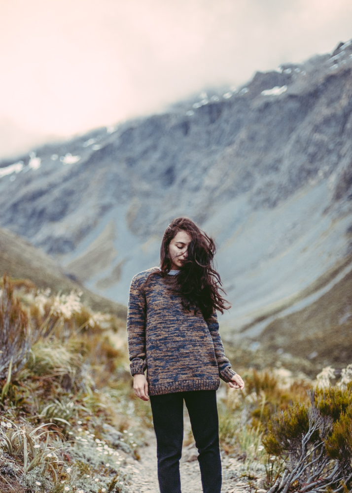 Wool knitted jumper mountains winter nostalgic
