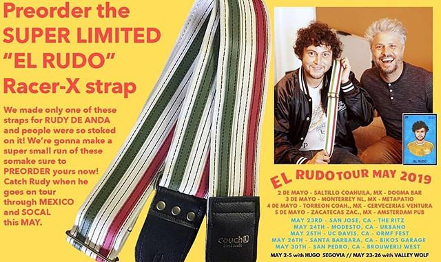 Limited edition @rudy_de_anda  @couch_guitar_straps! catch him on tour this May.