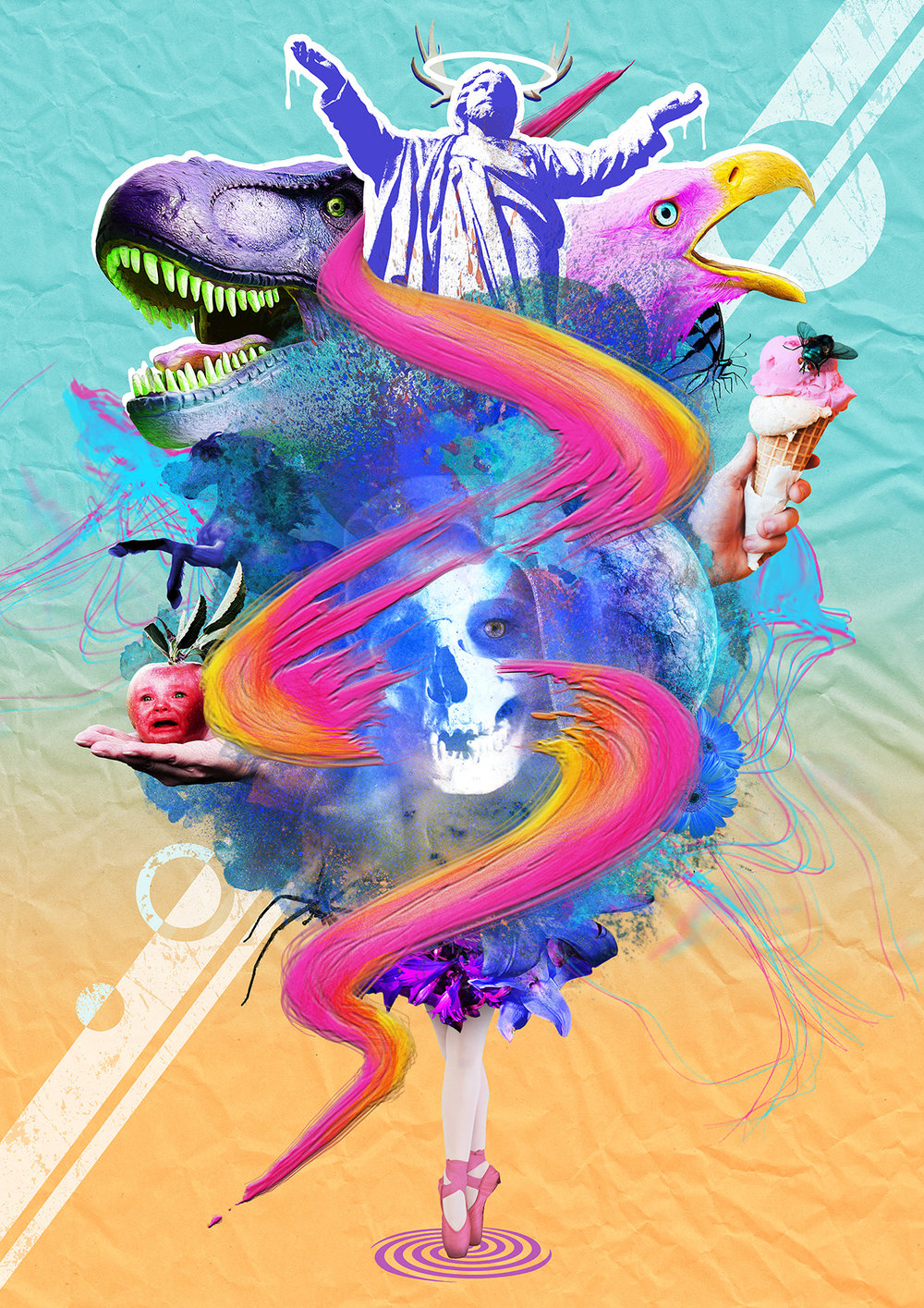 Collage experiment using stock images, original elements and various digital art techniques.