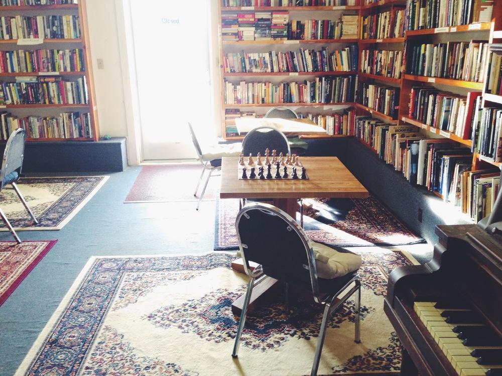 Bookshelves and Coffee Cups in New Ulm, Minnesota