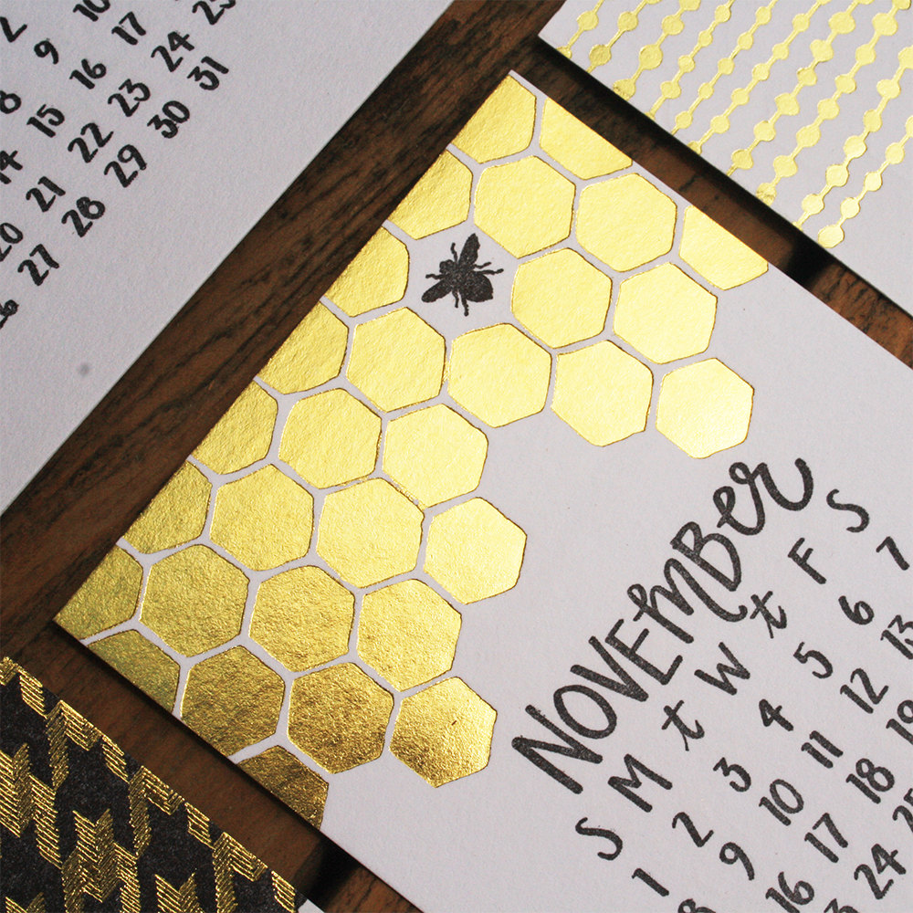 Gold Letterpress Calendar (13 Midwest Made Calendars for 2015 - The Midwestival)