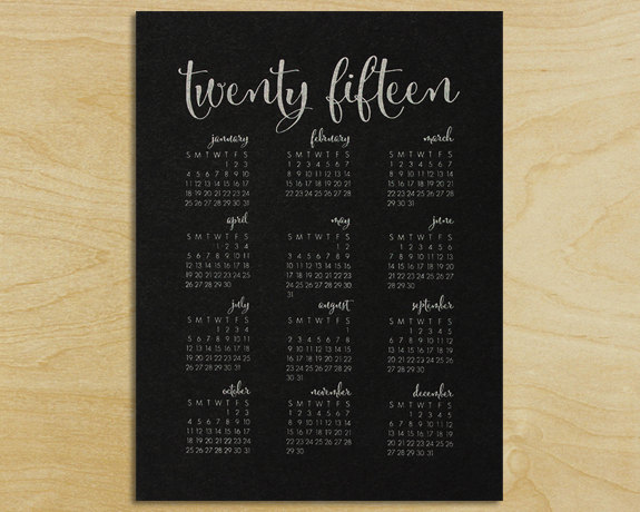 Modern Calligraphy Wall Calendar (13 Midwest Made Calendars for 2015 - The Midwestival)