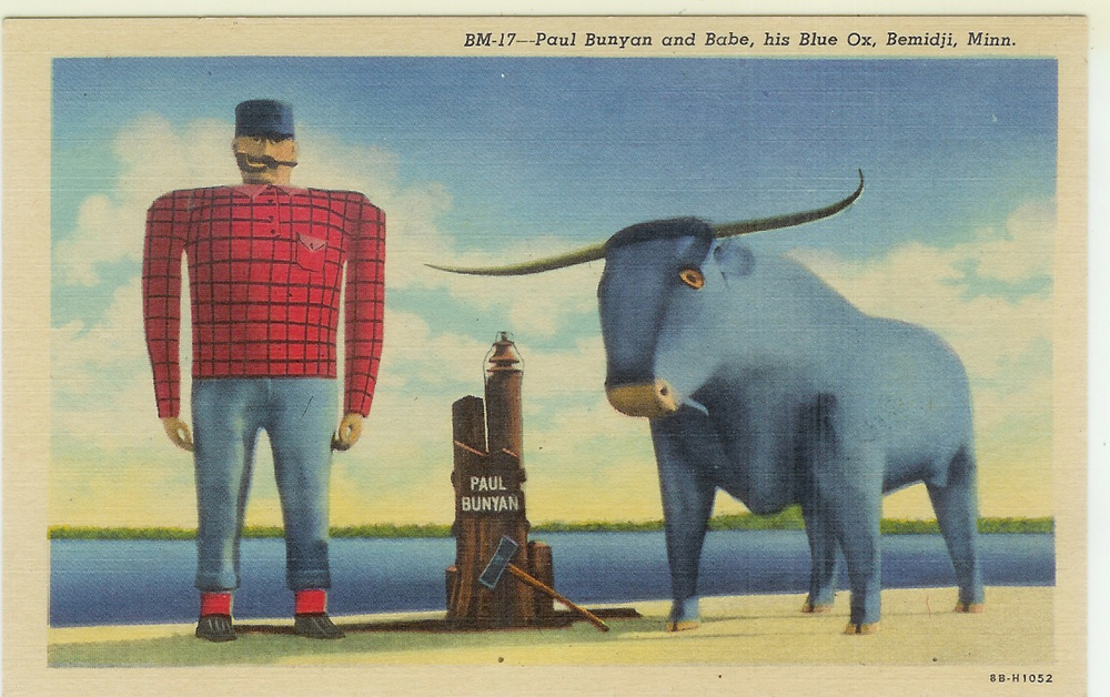 Paul Bunyan Vintage Postcard via The Midwestival