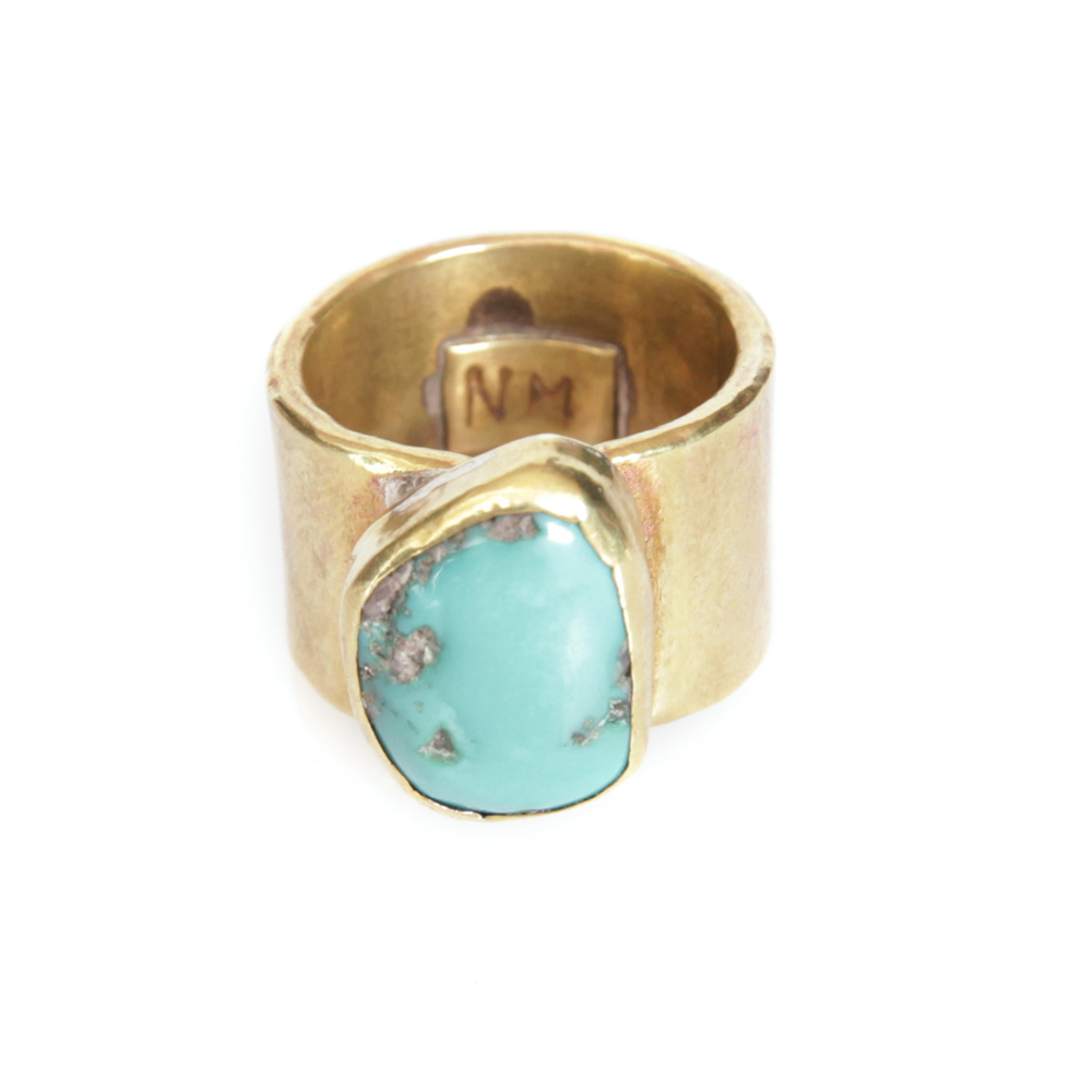 Brass + Turquoise ring by Knot and Splice