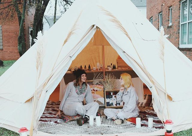 POMKT @mainx24 !! We have a cozy and creative nook safe from the rain with dreamy goods from our shop 🌒 We can't wait to see you guys!  625 East Main Street #mainx24 Storefront open till 5 today. Tent open till 7