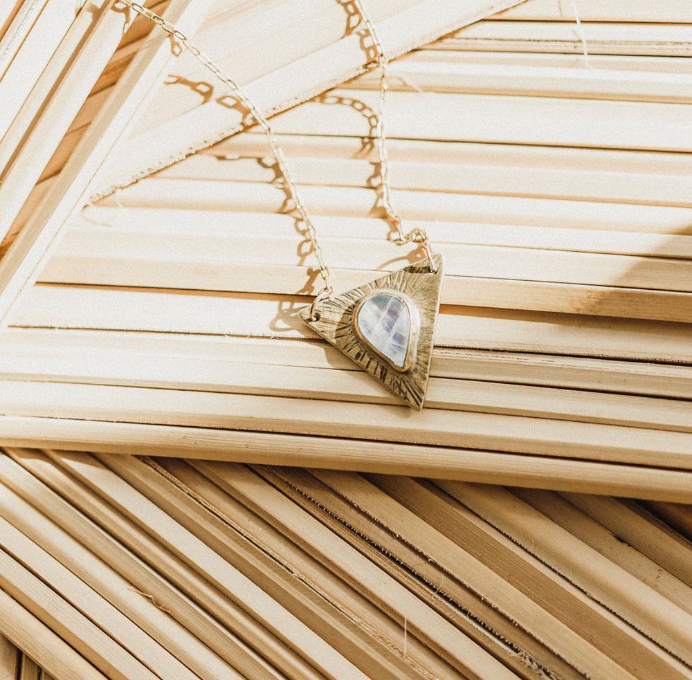 Brass and moonstone necklace   Paige Molina photography
