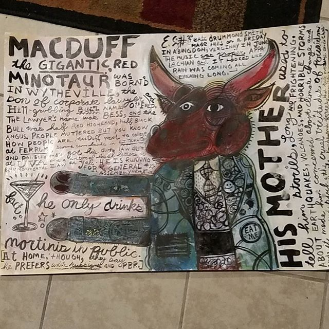 MacDuff the Gigantic Red Minotaur 2017 Acrylic and ink on paper #lowbrowart #lowbrow #neoexpressionism #popsurrealism #popart #popfolkart #abingdonva #minotaur #lawyer #environmentallaw #ferrum #uva #martini #mythology #wytheville #bulls
